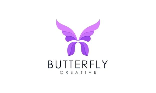 モダンなミニマリストの蝶のロゴ