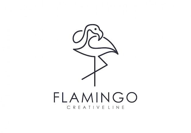 ユニークなフラミンゴアウトラインロゴ