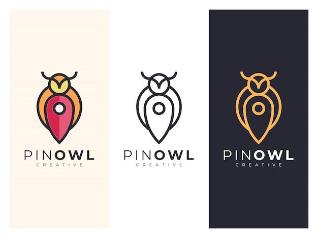 Уникальная иллюстрация логотипа карты совы в трех вариантах