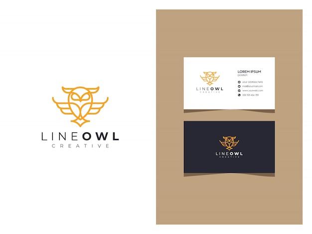 Элегантный логотип совы с визиткой