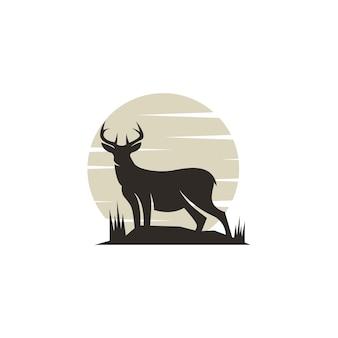 クラシックな鹿のシルエットのロゴ