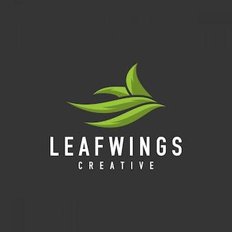 ユニークな葉のロゴ-イラスト