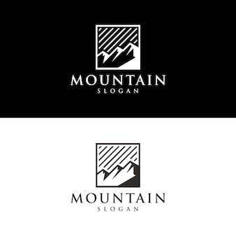 ユニークな山のロゴのシルエット