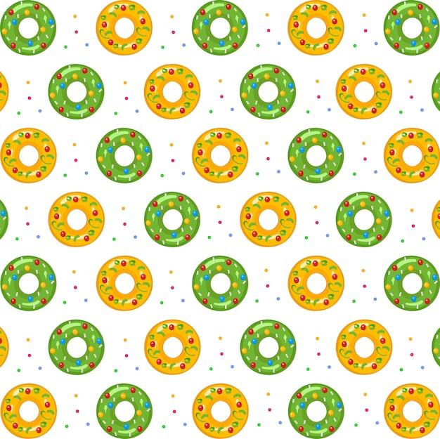 ドーナツ緑と黄色のシームレスパターン