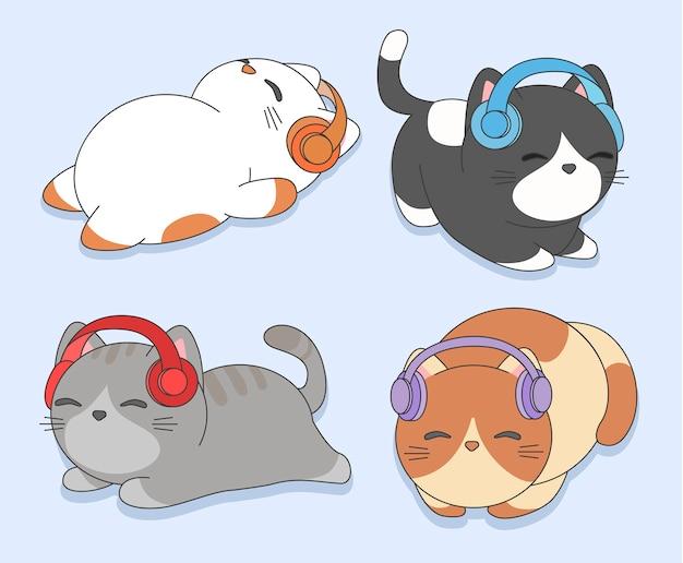 ヘッドフォンと子猫