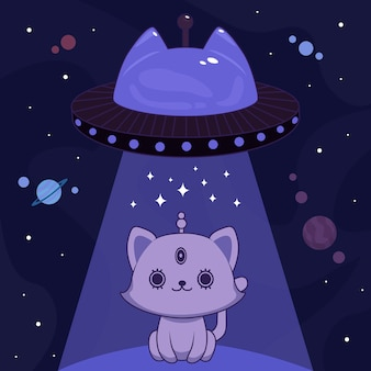 Синий инопланетный кот