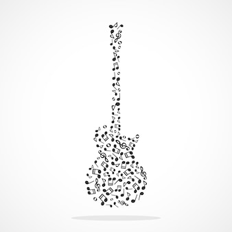 エレキギターを形成する音楽ノート