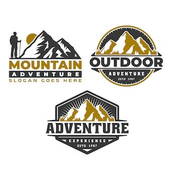 冒険のロゴエンブレム、山のロゴエンブレムテンプレート、キャンプハイキング