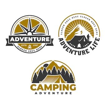 キャンプやハイキングのエンブレムデザイン、アドベンチャーライフのロゴ、テントとコンパス