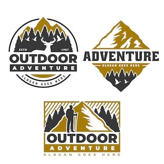 山のロゴ、キャンプやハイキングのエンブレムデザイン、冒険生活