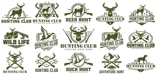 狩猟のロゴ、ハントラベル、バッジやエンブレム、アヒル、鹿のハントのロゴのベクトルを設定
