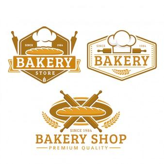 パン屋さんのロゴのテンプレート、パン屋さん、ビンテージレトロなスタイルのロゴパックのコレクション