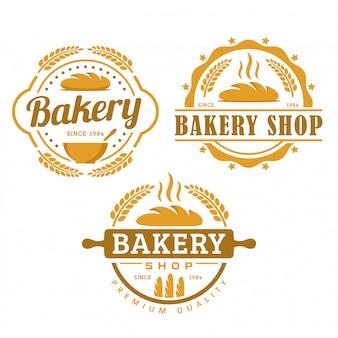 パン屋さんのロゴのテンプレート、パン屋さんセット、ビンテージレトロなスタイルのロゴパックのコレクション