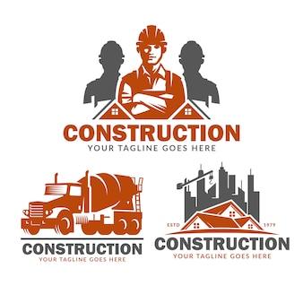 Набор шаблонов логотипа строительства, векторный пакет логотипов строительства