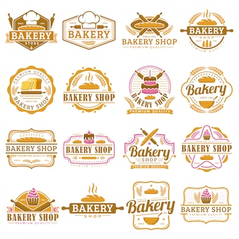 パン屋さんのロゴのテンプレート、パン屋さんのエンブレムセット、ビンテージレトロスタイルのロゴパックのコレクション。