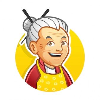 おばあちゃんのマスコットのロゴのテンプレート