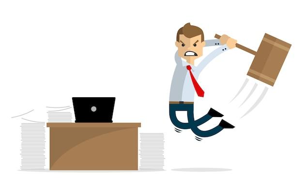 ビジネスマンの怒りと彼のラップトップと彼の机を破壊する
