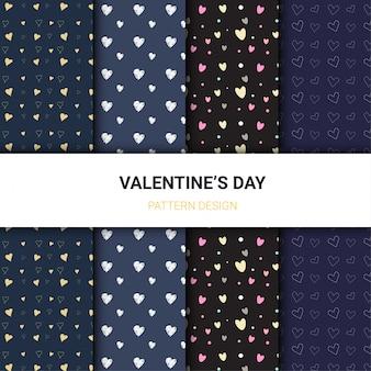暗い色の背景でのバレンタインデーのパターン。