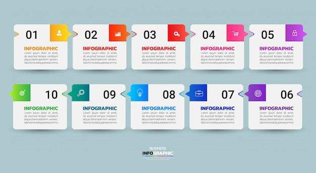 Инфографики шаблон десять шагов.