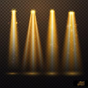 輝く光の効果と黄金のスポットライトのセット