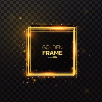 光の効果を持つ正方形のゴールドフレーム。
