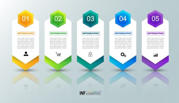 Пять шагов инфографика шаблон