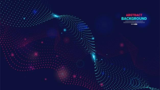流れる粒子と抽象的な技術の背景
