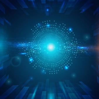 抽象的な技術の背景、ハイテクまたはデジタルの将来の技術コンセプト