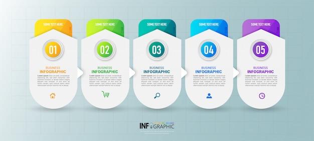 Современный шаблон инфографики пять шагов