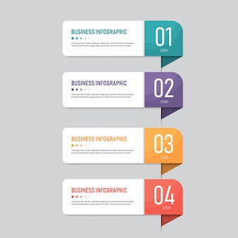 Инфографика баннер шаблон с четырьмя шагами