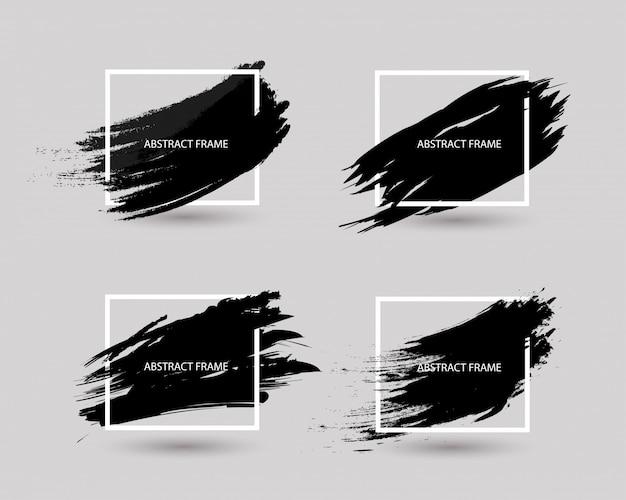 正方形のフレームと黒グランジ抽象的な背景のセット