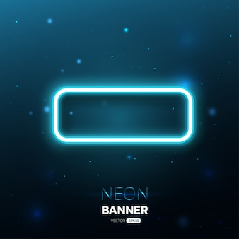 Синий неоновый дизайн баннера