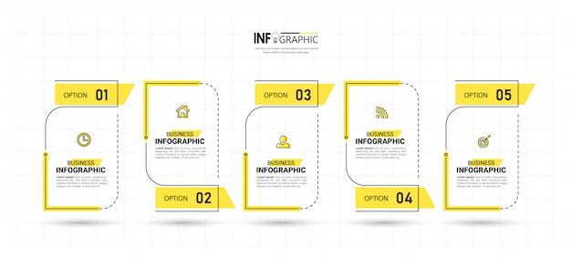 Пять шагов временной шкалы инфографика дизайн