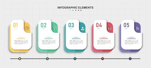カラフルなタイムラインのインフォグラフィック。
