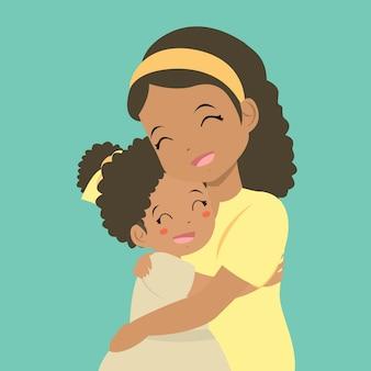 彼女の娘を抱いて母