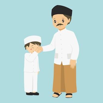 小さな男の子が彼の父の手にキス、文字ベクトル