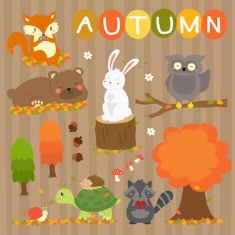 かわいい秋の動物はベクトルコレクションです。秋の動物