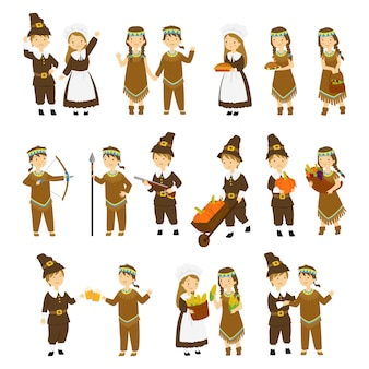 感謝祭の巡礼者と原住民のカップル文字漫画のベクトル