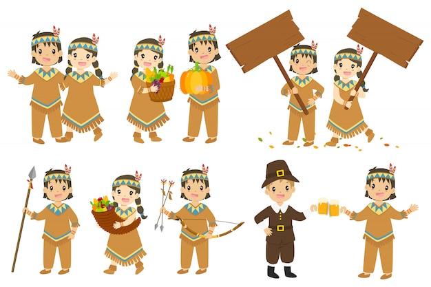 感謝祭の原住民カップル漫画文字ベクトルセット。