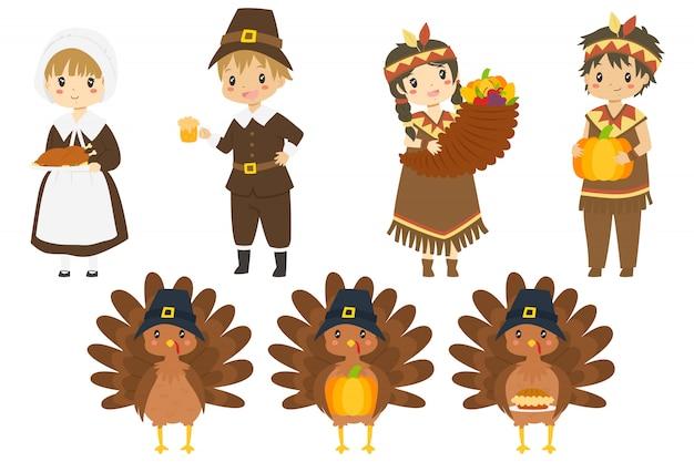 かわいい感謝祭のキャラクターとトルコのベクトルコレクション。