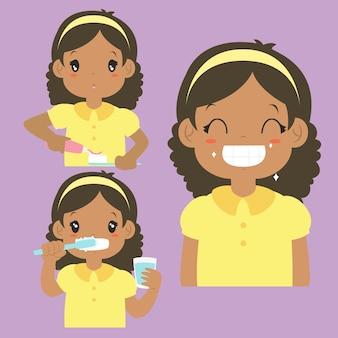 歯活動漫画ベクトルコレクションをブラッシングアフリカ系アメリカ人の女の子。