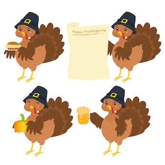 幸せな感謝祭トルコ漫画文字ベクトルを設定します。