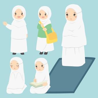 イスラム教徒の少女の日常活動ベクトルコレクション