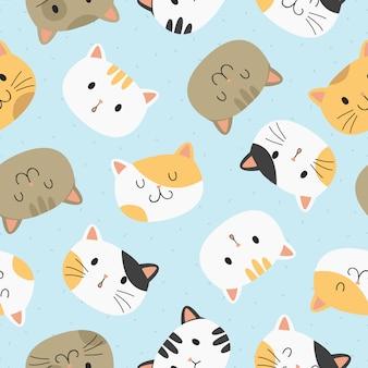 Симпатичные кошки бесшовные модели.