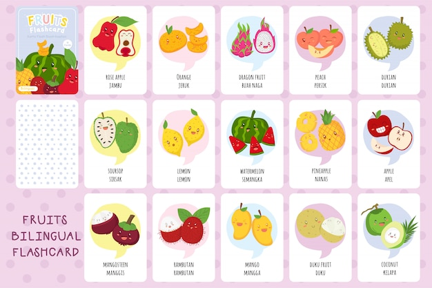 Набор двуязычных карточек с милыми тропическими фруктами