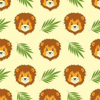 幸せなライオンのシームレスなパターン。