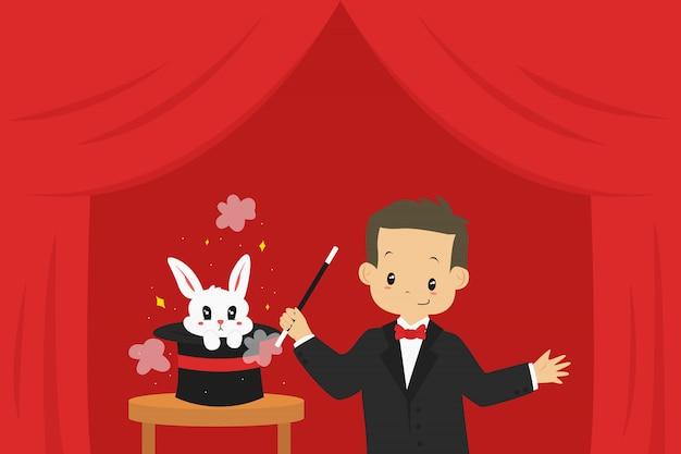手品を行う魔術師と帽子から飛び出すウサギ、イラスト。