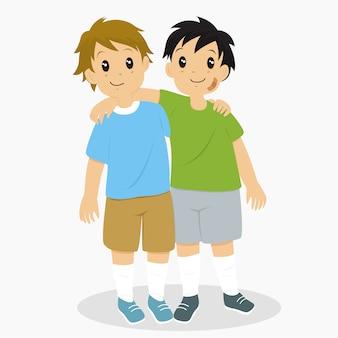 Два маленьких мальчика обнимаются. лучший друг персонаж вектор