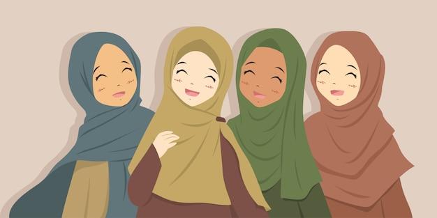 一緒に笑って幸せなイスラム教徒の親友。