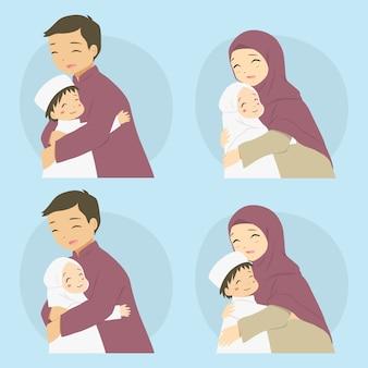 Родители обнимают своих детей, счастливая мусульманская семья
